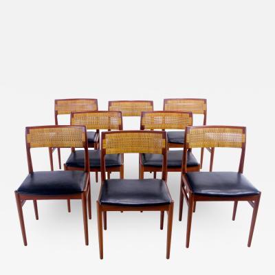 Erik Worts Set of Eight Distinctive Danish Modern Teak Dining Chair Designed by Erik Worts