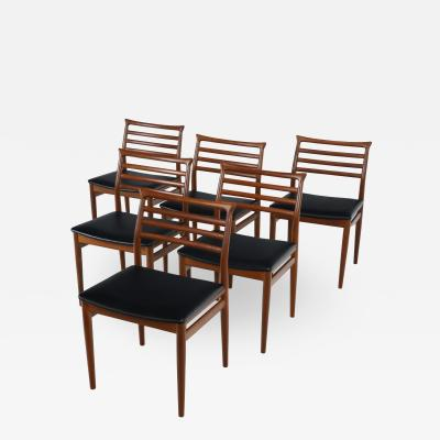 Erling Torvits Set of Six Scandinavian Modern Teak Dining Chairs by Erling Torvits
