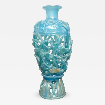Ermanno Nason Ermanno Nason Hand Blown Vase in Opalescent Blue Glass Gold Overlay 1967