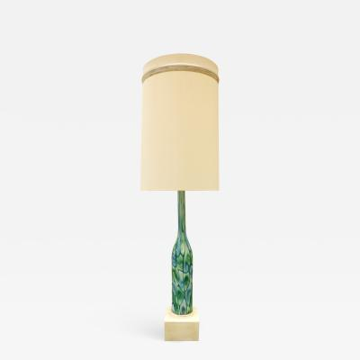 Ermanno Toso Fratelli Toso Large Table Lamp with Green and Blue Murrhines 1950s