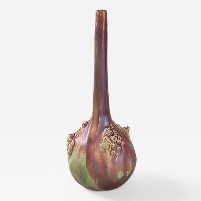Ernest Bussi re French Art Nouveau Ceramic Gourd Vase
