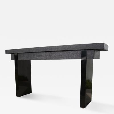Ernest C Masi Black Lacquered Linen Console Table by Ernest C Masi
