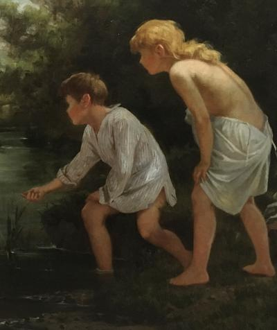 Ernest Etienne de Francheville Narjot Two Children Feeding Ducks in a Pond