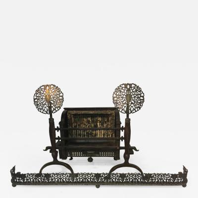 Ernest Gimson STYLIZED FOILIATE COTSWOLD SCHOOL ANDIRONS AND SURROUND