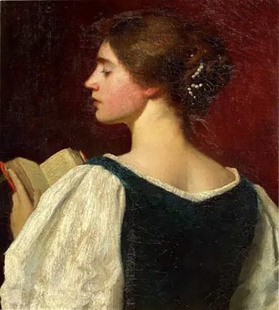 Ernest Lee Major Oil On Canvas Portrait Of A Young Woman By Ernest Lee Major