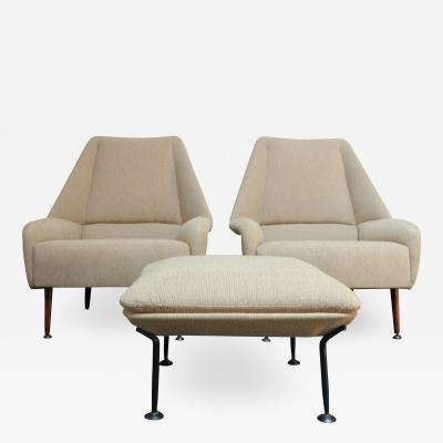 Ernest Race Pair of Ernest Race Flamingo Lounge Chairs and Ottoman