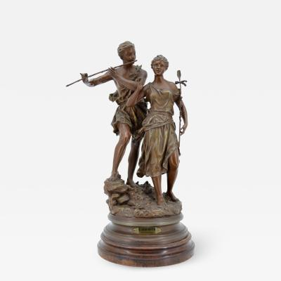 Ernest Rancoulet Ernest Rancoulet Sculpture group of a young man and woman L Age d or 66 cm