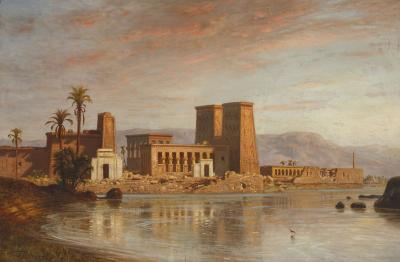 Ernst Karl Eugen Koerner Orientalist oil painting of Egyptian temple by Koerner