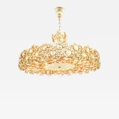 Ernst Palme Large Gilded Brass and Crystal Glass Chandelier by Palwa Germany 1960s