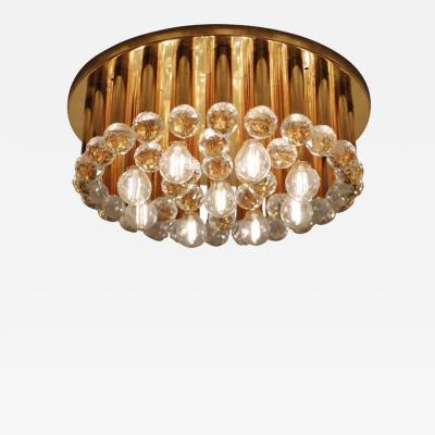 Ernst Palme One of Three Huge Glass Crystal Drops and Brass Flush Mount by Ernst Palme