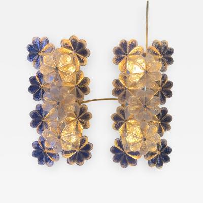 Ernst Palme Pair of Ernst Palme Floral Glass Sconces