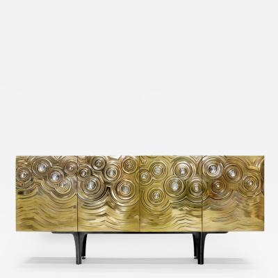 Erwan Boulloud Brass Wood Black Steel Roepa Sideboard with Inlaid Rock Crystals Atelier EB