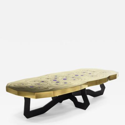Erwan Boulloud Roeco Coffee Table in Brass Black Steel with Inlaid Lapis Lazuli by Atelier Eb