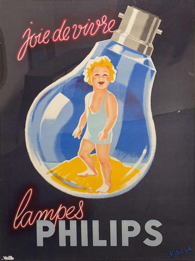 Erwin Wasey Large Philips Lampes Poster