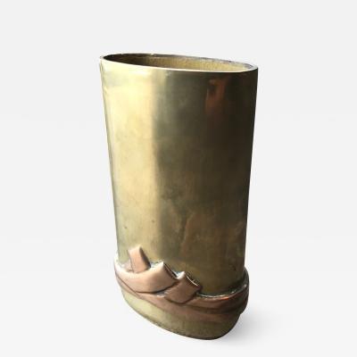 Esa Fedrigolli Tall Modern Oval Vase in Solid Bronze Signed Esa Fedrigolli Italy 1970s