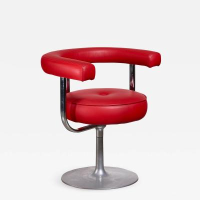 Esko Pajamies Esko Pajamies metal and red leather desk chair for Lepo Finland 1960s