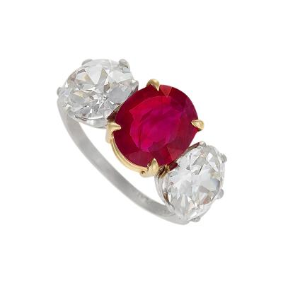 Estate Burma Ruby and Diamond Three Stone Ring