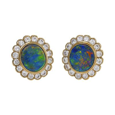 Estate Diamond Opal Platinum and Gold Cluster Earrings