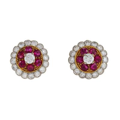 Estate Diamond Ruby and Platinum Cluster Earrings