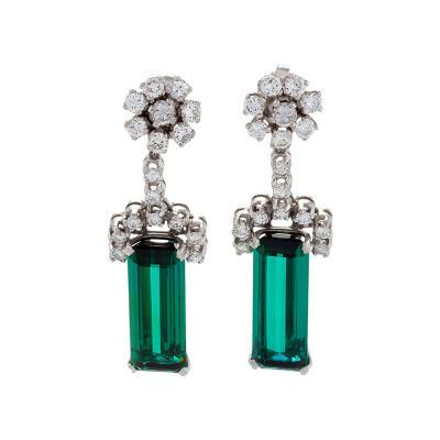 Estate Diamond Tourmaline and Platinum Earrings