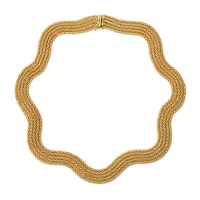 Estate French Woven Gold Collar Necklace of Undulating Design