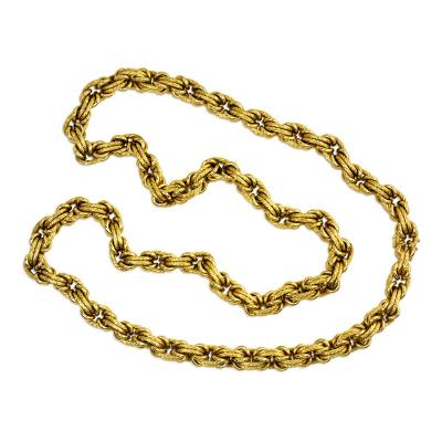 Estate Gold Fancy Link Chain Wearable as a Collar