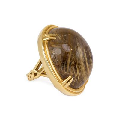 Estate Gold and Rutilated Quartz Oversized Ring