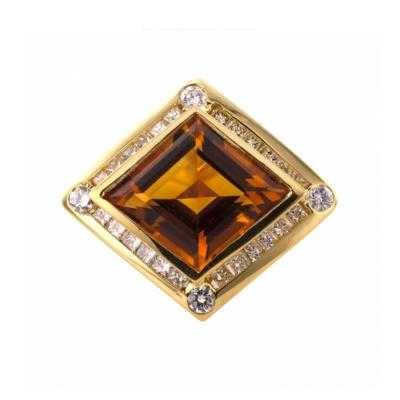 Estate Modernistic Citrine and Diamond Ring
