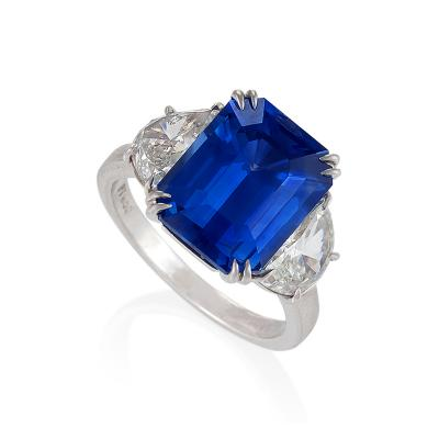 Estate Natural No Heat Ceylon Sapphire and Diamond Ring