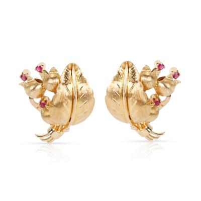 Estate Tiffany Co Lily of the Valley Flower Ruby Earrings in 18K Yellow Gold