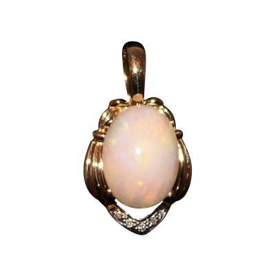 Ethiopian Fiery Opal Diamond 14KT Yellow Gold Enhancer Pendant