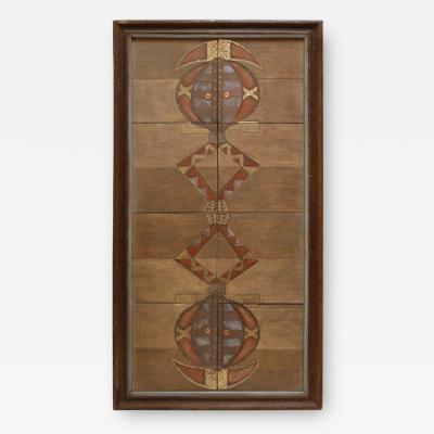 Ethnic Ghanaian Wood Wall Panel with Embossed Brass