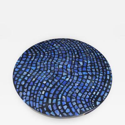 Etienne Allemeersch Etienne Allemeersch black circular resin and lapis lazuli coffee table