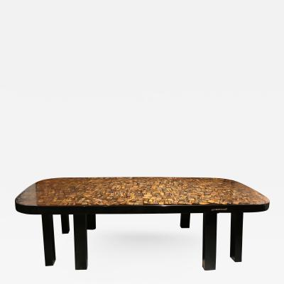 Etienne Allemeersch Important Black Resin and Tiger Eye Coffee Table by Etienne Allemeersch