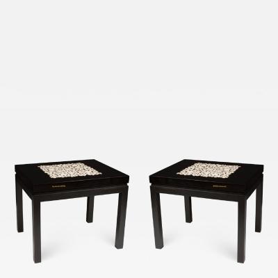 Etienne Allemeersch Rare pair of travertine inset resin side tables by Allemeersch