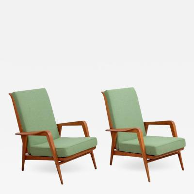Etienne Henri Martin Pair of New Upholstered Etienne Henri Martin Lounge Chairs