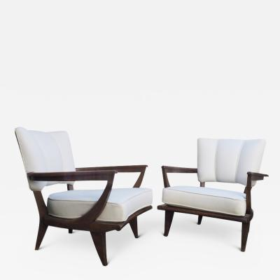 Etienne Henri Martin Pair of Oak Armchairs for Steiner Circa 1948