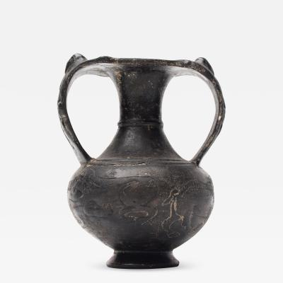 Etruscan Bucchero Black Ware Two Handle Vase