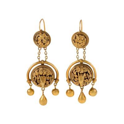Etruscan Revival Gold Rams Head Girandole Earrings