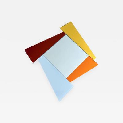 Ettore Sottsass 2007 Ettore Sottsass Geometric Mirror in White Red Orange Yellow for Glas Italia