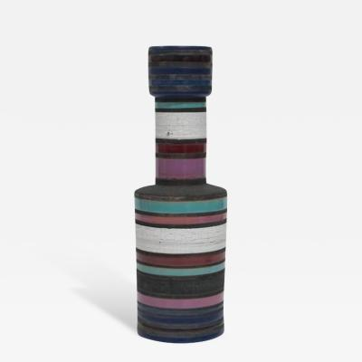Ettore Sottsass Ettore Sottsass Bitossi Raymor Ceramic Vase Blue Violet Signed Italy 1960s