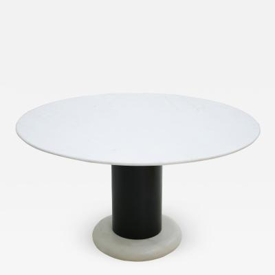 Ettore Sottsass Ettore Sottsass Carrara Marble And Black Lacquered Steel Loto Table Italy 60s