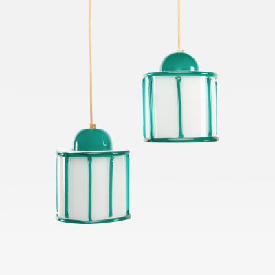 Ettore Sottsass Ettore Sottsass Memphis design founder pair of ceiling lights Venini Murano