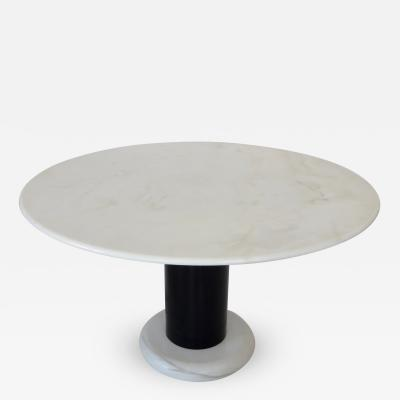 Ettore Sottsass Ettore Sottsass White and Black Round Marble Dining Table Lotorosso Polotronova