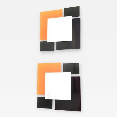 Ettore Sottsass Pair of Multicolored Mirrors in the Style of Ettore Sottsass 1980s