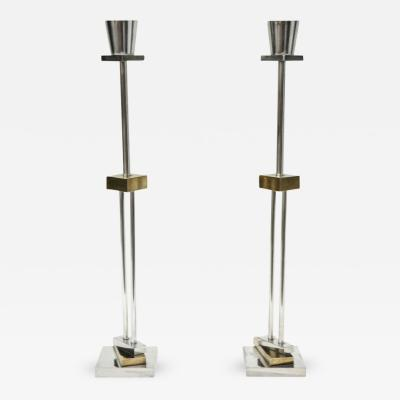 Ettore Sottsass Pair of Silver Plate Brass Candlesticks by Ettore Sottsass for Swid Powell