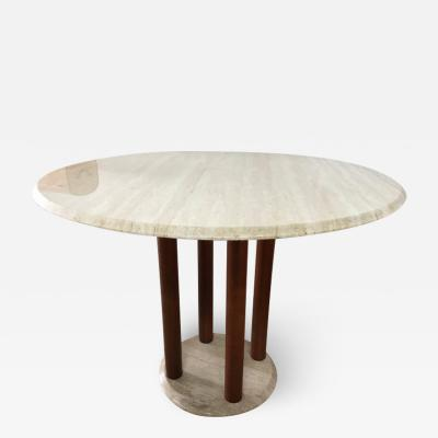 Ettore Sottsass Post Modern Italian Travertine and Wood Dining Table Italy 1980s