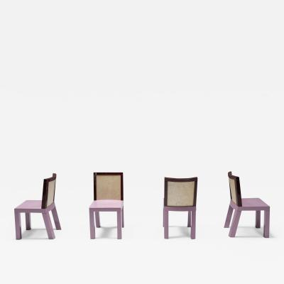 Ettore Sottsass Postmodern Ettore Sottsass Pink Dining Chairs for Leitner 1980s