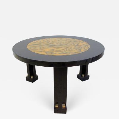 Ettore Sottsass Rare Italian Black Lacquer Faux Bois Side Table 1980s Ettore Sottsass