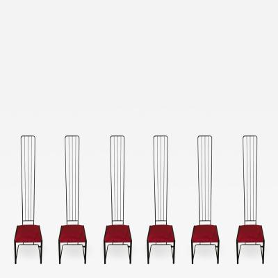 Ettore Sottsass Set of Six Postmodern High Back Dining Chairs